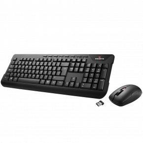 Gigabyte KM7590 Wireless Keyboard w/ Mouse [USB, Membrane, 2.8mm, 1300 DPI, Black]