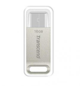 Transcend TS16GJF850S JetFlash850 USB Flash Drive [16GB, USB3.1 Gen1, Metallic, Silver Plating]