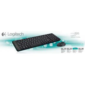Logitech MK220 Mini Keyboard/Mouse desktop Combi set [RF Wireless/ Optical, Scroll, Black]